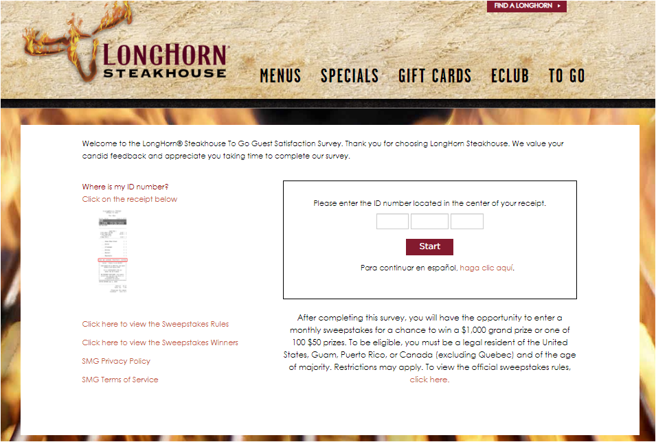 longhorn steakhouse Survey 2020