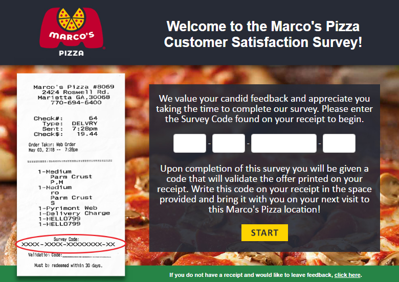 Marcos Pizza Guest Survey